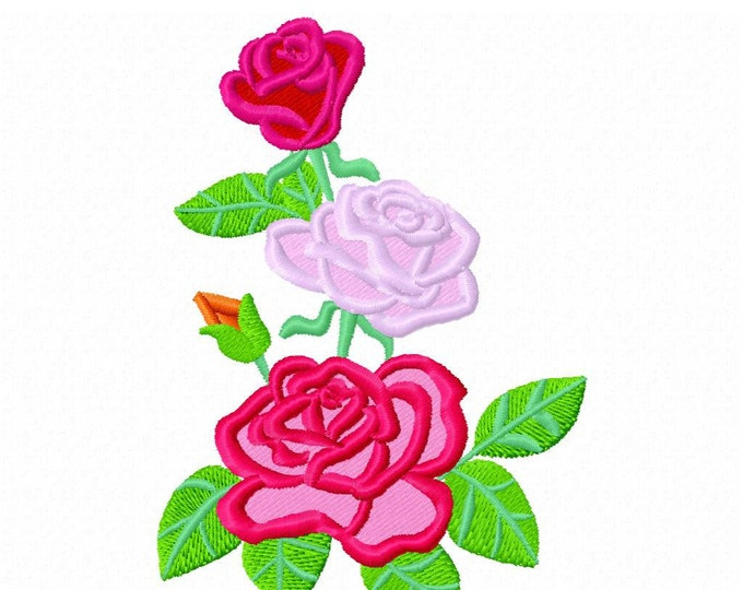 Awesome rose applique and embroidery designs beautiful rose applique embroidery design assorted sizes 4x4, 5x7 and 6x10