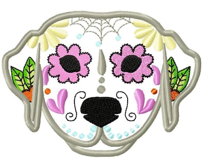 Lab Labrador Sugar Skull applique machine embroidery design, pet dog skull machine embroidery for hoop 3, 4, 5 and 6 inches