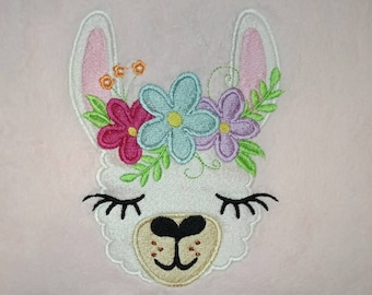 Fill stitch embroidery of Llama or alpaca head with shabby chick roses crown  machine embroidery designs llama face drama llama design