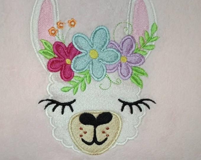 Fill stitch embroidery of Llama or alpaca head with shabby chick roses crown  machine embroidery designs llama face drama llama design