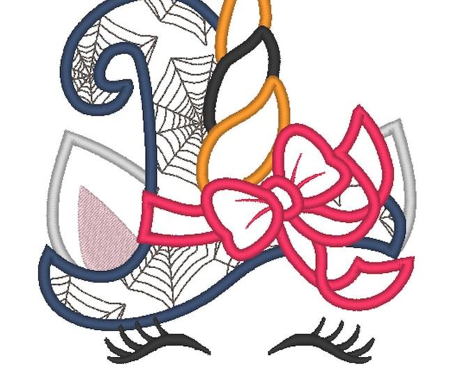 Unicorn head  Spider web print witch hat Halloween Unicorn head  face applique machine embroidery designs Rainbow unicorn face fall