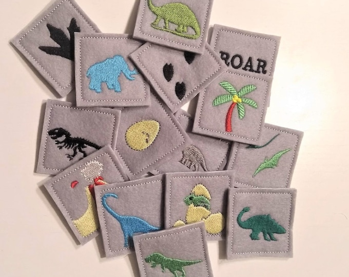 "Memory game ""Dinosaurs"" machine embroidery design ITH project INSTANT DOWNLOAD for hoop 4x4, 5x7, 6x10 children game dino jurassic animals"