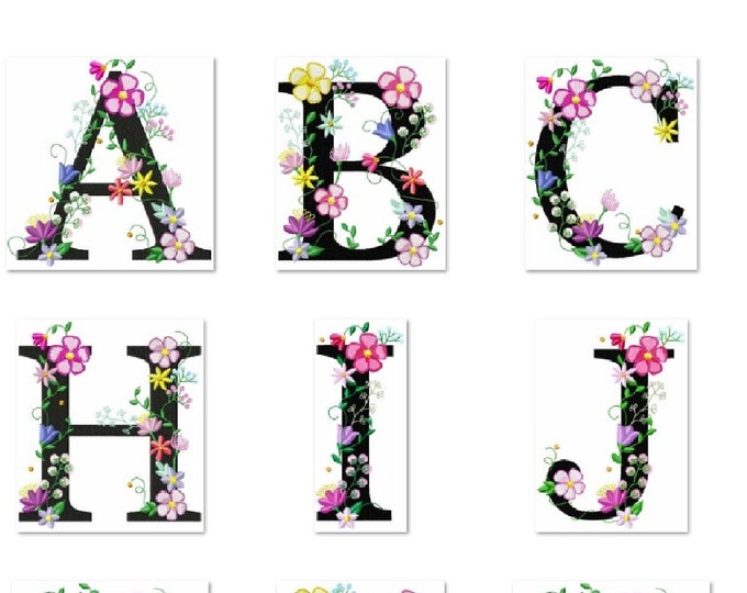 Floral whole alphabet garden flag monogram lace swirl flowers block font Font machine embroidery design monogram 4, 5, 6 and 8 in