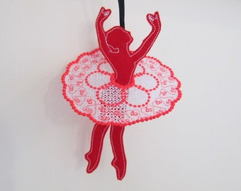 Dancer simply ITH in the hoop Ballerina feltie project machine embroidery designs 7 ballerinas+ 7 skirts free standing lace FSL dancing girl