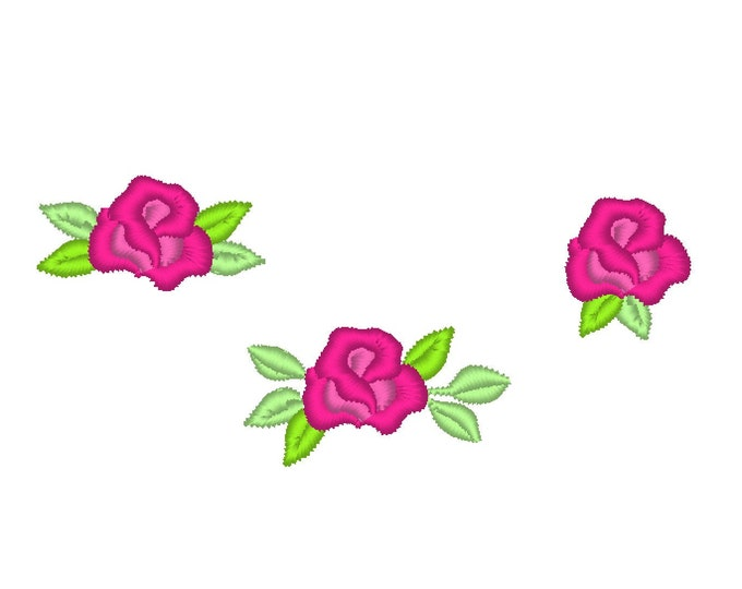 Accent mini roses SET of 3 types, floral various roses machine embroidery designs mini sizes less than 1 inch, micro tiny wee flower rose