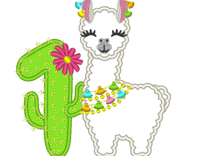 Number 1 First birthday Llama alpaca with cactus number Applique Design lama machine embroidery designs 5, 6, 7 and 8 inches