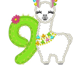 Number 9 Ninth birthday Llama alpaca with cactus number NINE Applique Design lama machine embroidery designs 5, 6, 7 and 8 inches