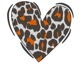 Valentine Love Heart, leopard animal print pattern machine embroidery design, NOT applique, assorted sizes from 2 up to 8in INSTANT DOWNLOAD