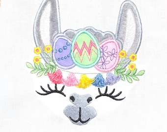 Easter eggs Lama Tassels face, tassel, llama, alpaca face head - machine embroidery applique designs - assorted sizes, download for 4x4 5x7
