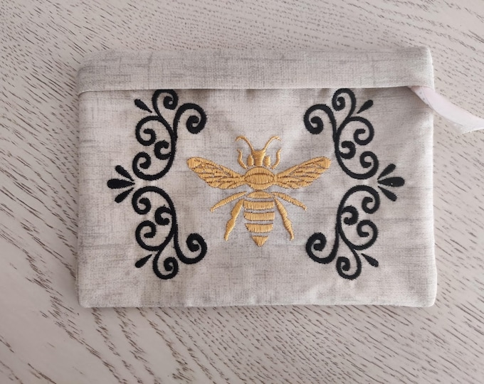 Honey bee  vintage Pouch, Envelope ITH, Pocket, ITH, bag, zip bag, In The Hoop Machine Embroidery designs In-The-Hoop 5x7 6x10