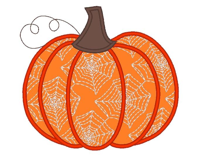 Spider web print Applique Design ~ Fall Pumpkin Autumn pumpkin with spider web print pattern, machine embroidery designs INSTANT DOWNLOAD