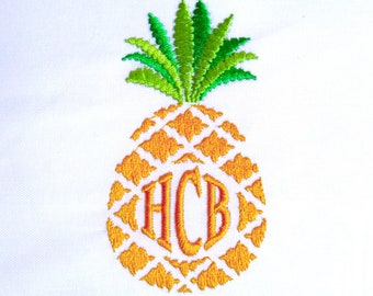 Pineapple and unique  circle monogram bundle assorted sizes Monogram Font Classic Font Circle 3 Embroidery wedding 4x4