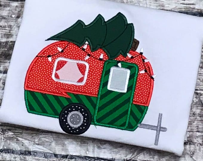 Christmas tree and camper, old fashioned camper, camper van, Christmas holidays - machine embroidery applique designs, for  4x4, 5x7, 6x10