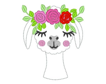 MINI Super cute Llama face with floral roses crown, three roses llama alpaca girl flowers crown machine embroidery designs INSTANT DOWNLOAD