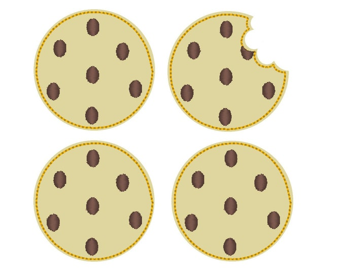 Cookies and bitten cookie, sweet biscuit in the hoop ITH Feltie Patch machine embroidery designs assorted sizes set in one hoop 4x4, 5x7