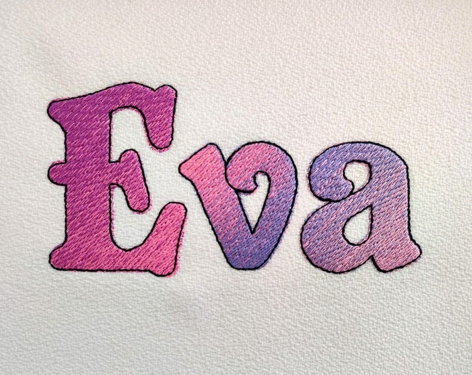 Eva Iridescent 2 Color block FONT alphabet Embroidery designs 1, 2, 3in rainbow gradient embroidery font, NO special thread, BX included