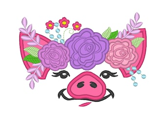 Pretty eyes pig face with shabby chick roses crown applique machine embroidery designs pig piggie piggy floral flower machine embroidery