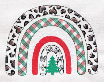 Christmas tree light stitch Rainbow machine embroidery designs in many sizes, awesome winter Rainbow snowflakes, gingham and leopard print