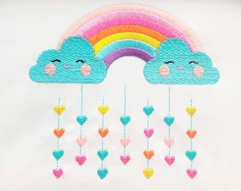 Cute Rainbow with pretty clouds and rainy falling hearts machine embroidery designs assorted sizes for children kids INSTANT DOWNLOAD
