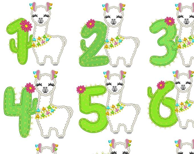 Llama alpaca Birthday cactus number set 1 - 9 Applique Designs lama machine embroidery applique designs 5x7 6x10