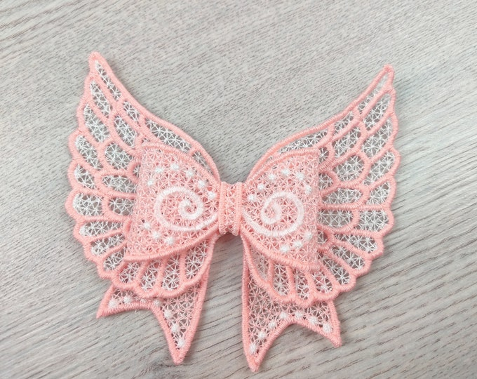 Angel wings lace free standing bow Little Princess - FSL, Free standing lace, curl Bow - machine embroidery designs 4x4 and 5x7