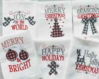 Merry Christmas gingham old fashioned classic Happy Holidays, Joy Kitchen dish towel quotes 6pcs machine embroidery designs 4x4, 5x7