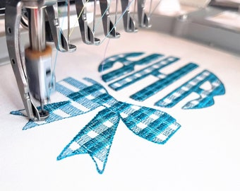 Plaid gingham checked Christmas bow and three-letters Tartan Buffalo Circle Monogram machine embroidery designs assorted sizes, BX incl