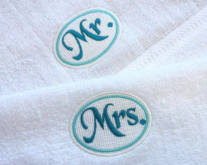 Embossed towel Mr and Mrs Monogram couple wedding elegant machine embroidery designs assorted sizes, great for wedding gift groom bride