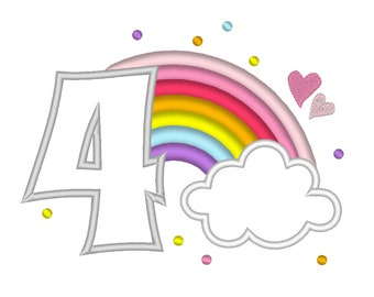 Cute Rainbow Birthday Number 4 FOUR machine embroidery applique designs size 4, 5 and 6.5 inches, rainbow in clouds kids party number 4