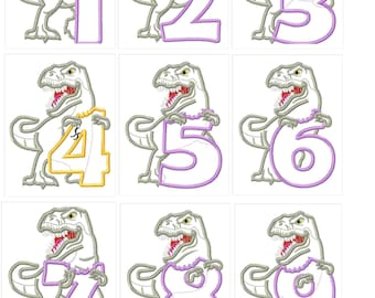 T-rex indominus dinosaur Birthday numbers machine embroidery designs Dino Birthday outfit designs assorted sizes for hoops 5x7, 6x10 or 8x8