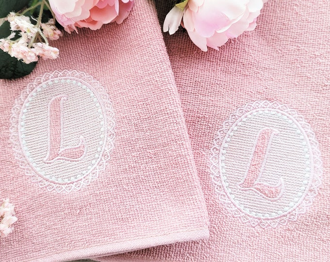 Embossed terry towel lace monogram SET letters A-Z oval lacy circle machine embroidery designs for hoop 4x4, wedding girl birthday gift idea