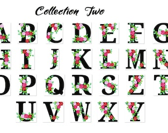 Roses floral two whole entire alphabets garden flag monogram roses crown flowers flower Font machine embroidery design 2,3, 4, 5, 6, 7, 8 in