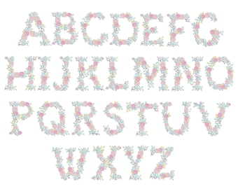 """Delicate Roses Floral whole entire alphabet A-Z garden flag monogram fashioned flower letters Font machine embroidery designs 3, 4, 6, 7, 8"""""""