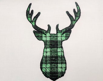 Plaid gingham print Buck Deer head silhouette antlers animal portrait machine embroidery designs size 2, 3, 4, 5, 6, 7 in INSTANT DOWNLOAD