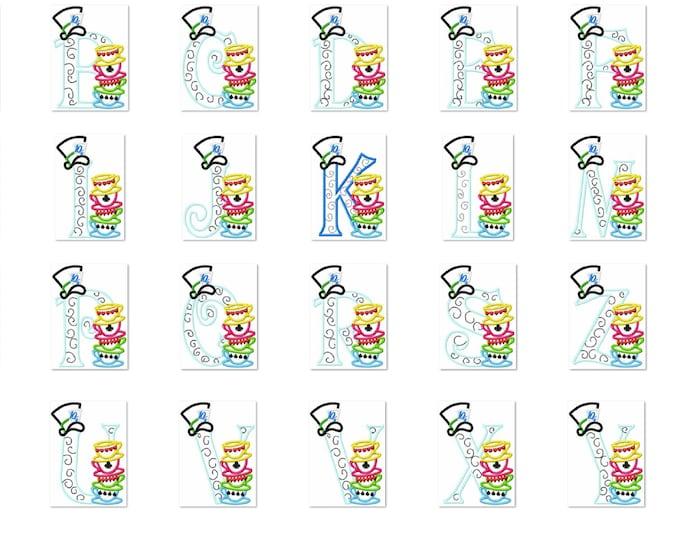 Mad hatter tea party entire alphabet - machine embroidery applique designs 5x7