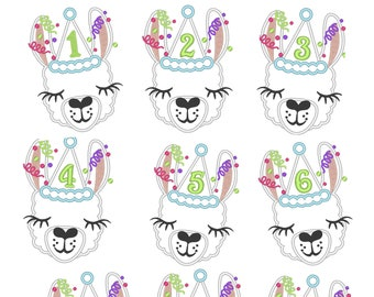 Llama alpaca Birthday hat number set 1 - 9 Applique Designs lama machine embroidery applique designs 4x4 5x7 6x10