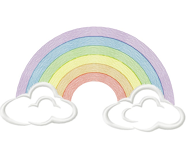Classic clouds rainbow, Light stitching light stitch, rainbow embroidery design, outline rainbow light embroidery, embroidery designs