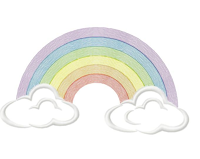 Classic clouds rainbow, Light stitching light stitch, rainbow embroidery design, outline rainbow light embroidery, embroidery designs