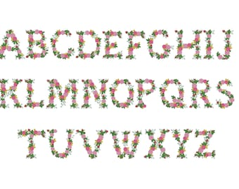Urban roses floral font alphabet garden flag monogram liberty fashioned flowers Font machine embroidery designs size 3, 4, 6, 7, 8in BX incl