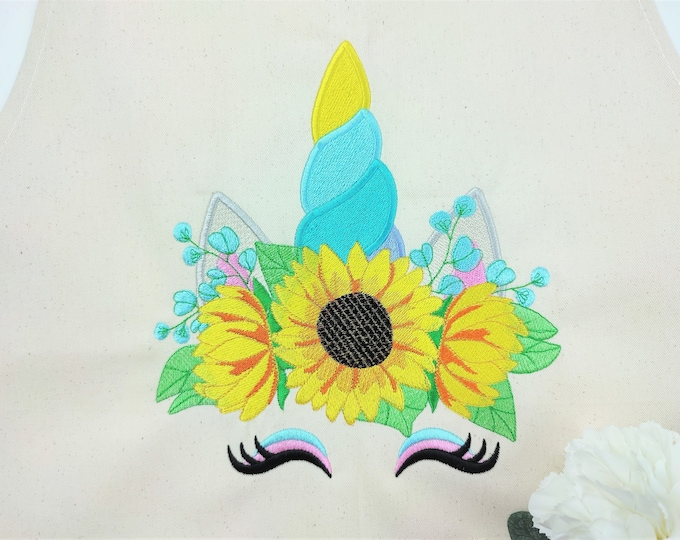Sunflower Unicorn face, Unicorn head with fall autumn sunflower floral crown, Thanksgiving flower machine embroidery designs many sizes