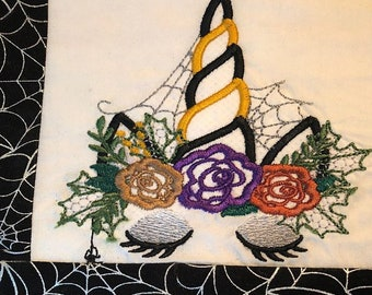 Witchy Halloween spider Unicorn Witch hat shabby chick roses flowers crown applique machine embroidery designs unicorn face fall autumn