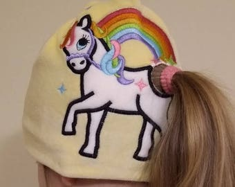 Rainbow unicorn pony tail in-the-hoop kids girl beanie outfit magic pretty horse ITH project machine embroidery designs hoop 4x4, 5x7, 6x10