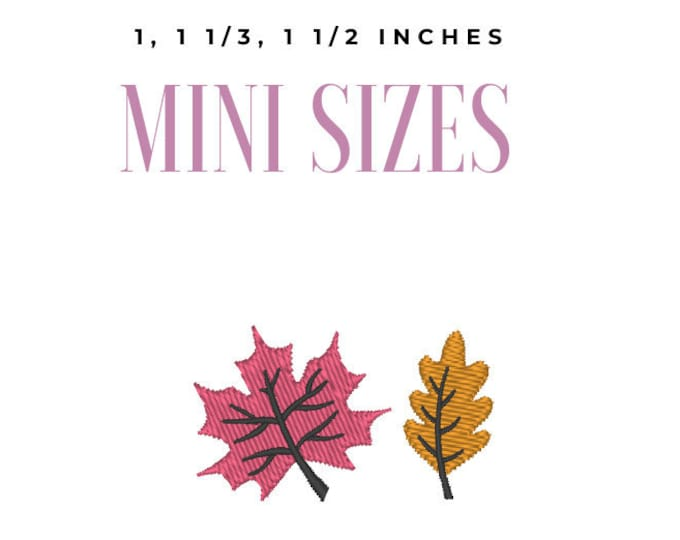 Mini designs micro leaves 2 types mini tiny sizes 1, 1.3 and 1.5 machine embroidery designs for face masks INSTANT DOWNLOAD