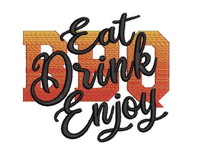 Eat Drink Enjoy, BBQ it is Barbecue time, apron, kitchen towel, summer time, gradient, rainbow, iridescent machine embroidery designs