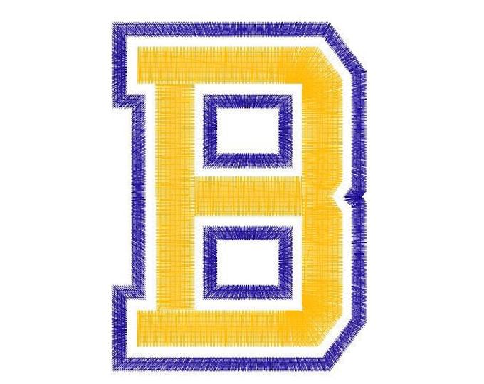 Double two color Athletic Sport High School Team Players machine embroidery design alphabet Varsity Collegiate block Font applique monogram