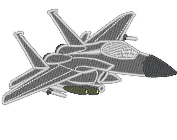 Fighter F-15E - machine embroidery applique designs for hoop 4x4, 5x7, 6x10 INSTANT DOWNLOAD plane for boys strike eagle air force military