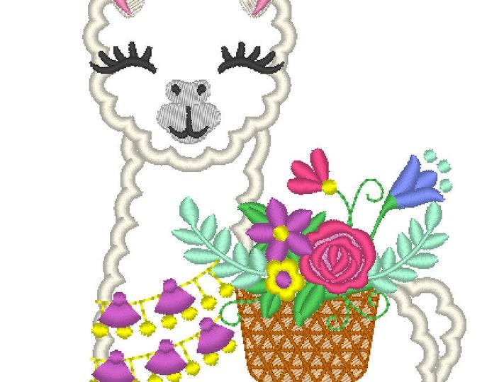 Floral Summer Tassels Llama, Fringed tassel necklace and floral basket, flowers bouquet Lama machine embroidery applique design