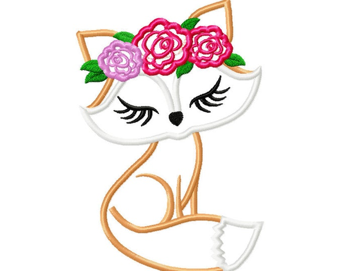 Pretty eyes Fox face with shabby chick roses crown applique machine embroidery designs applique Fox flowers embroidery fox head