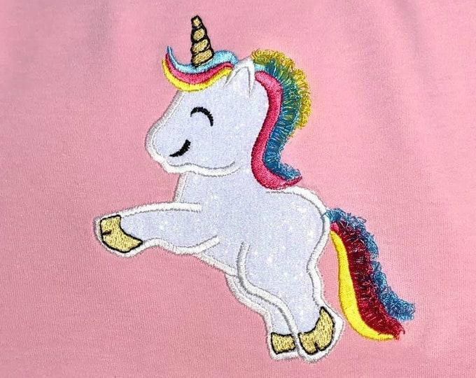 Rainbow unicorn fringed hairs, Fringed tassel unicorn applique, unicorn rainbow, fluffy, unicorn ITH, In the hoop machine embroidery design