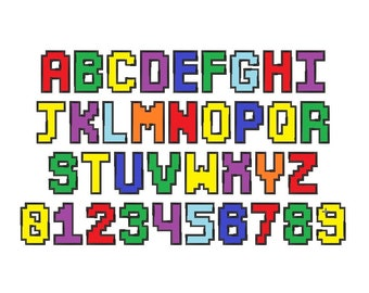 Gamer block font letters A-Z whole alphabet and numbers 0-9, Crewmate kids fun pixel font machine embroidery applique designs, BX included
